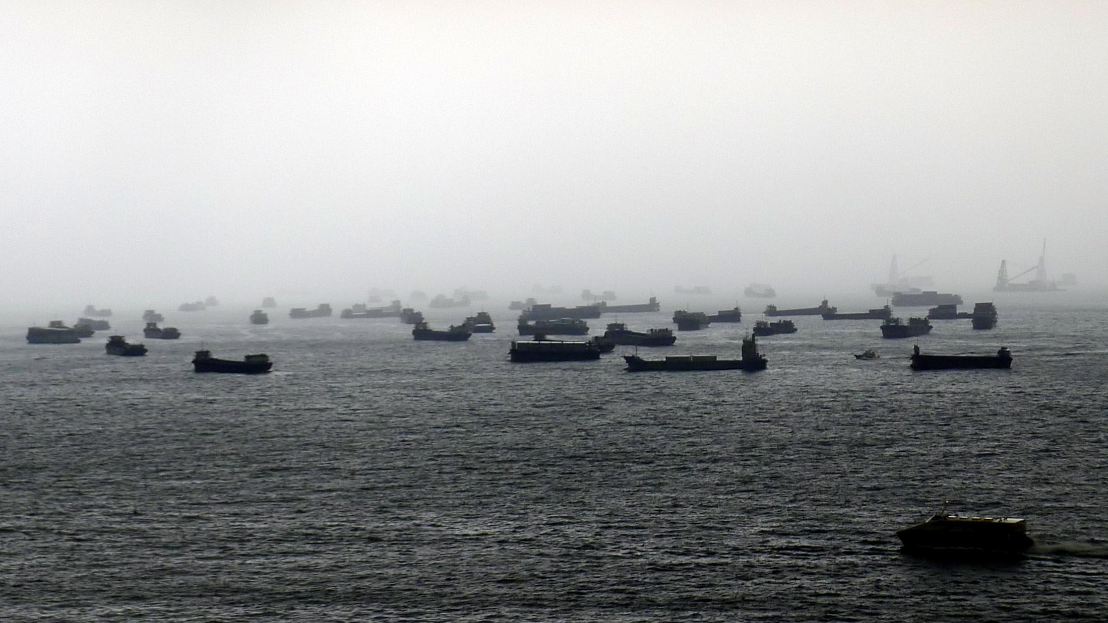 Hong Kong harbor during a storm